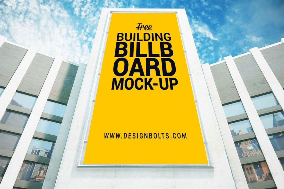 Free Outdoor Advertising Building Billboard Mockup PSD
