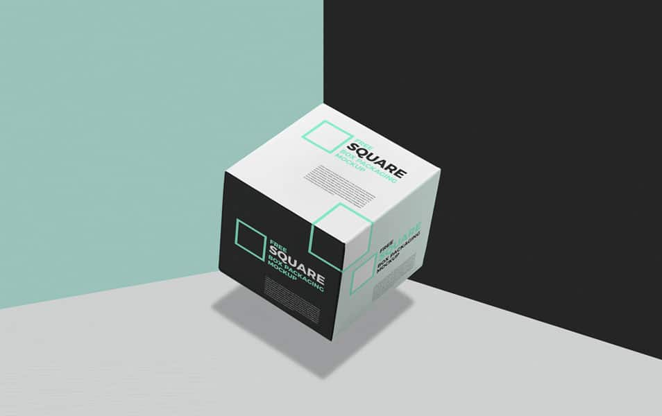 Free Square Box Packaging Mockup