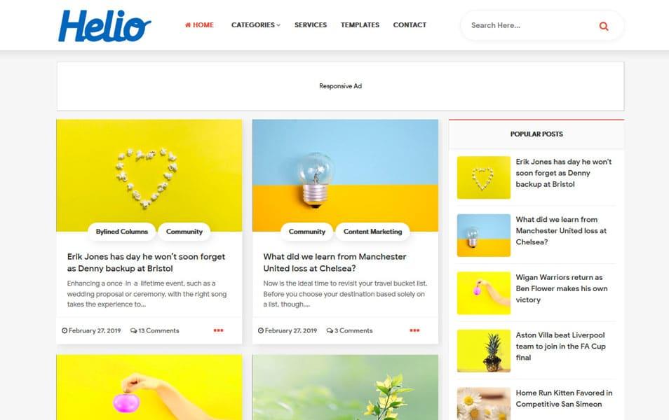 Helio Modern Gird Style Blogger Template