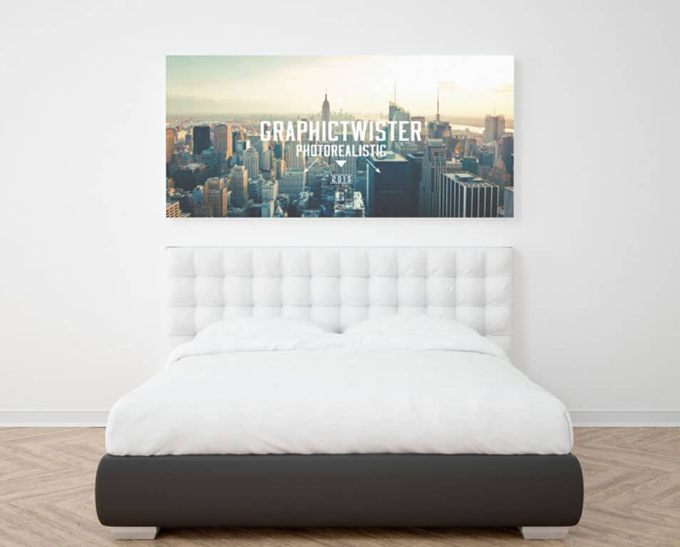 New Realistic Single Wall Frame Mockup in Bedroom