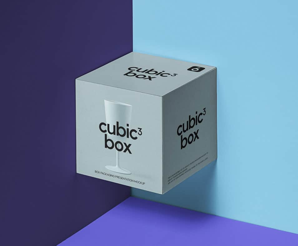 PSD Cubic Box Packaging Mockup
