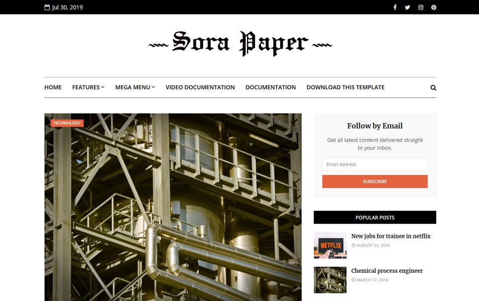 Sora Paper Responsive Blogger Template