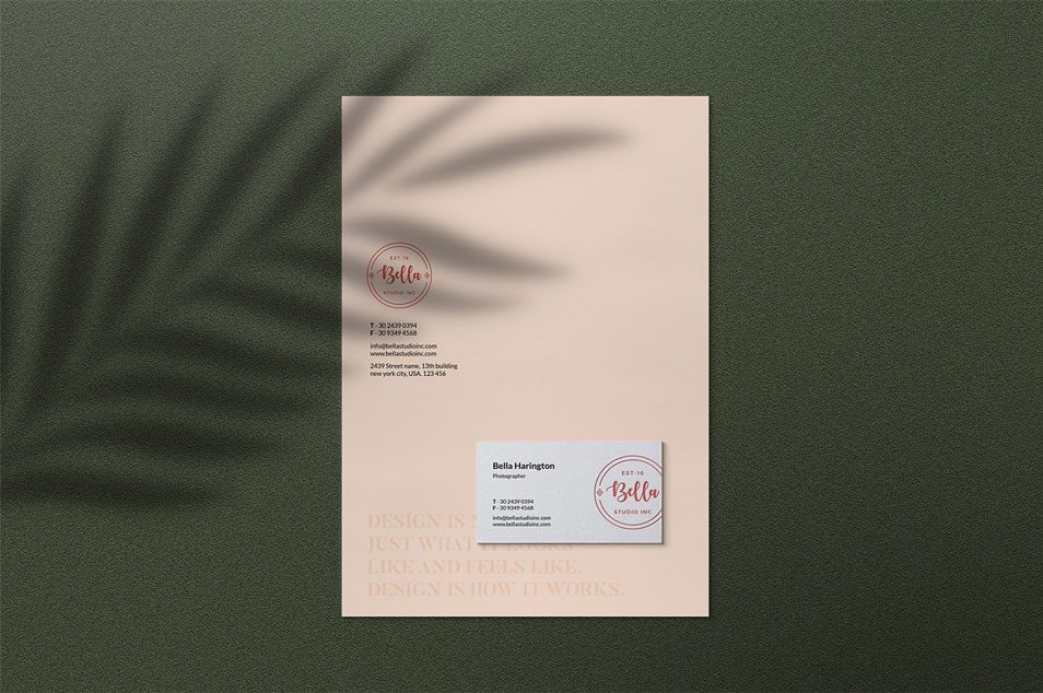 Stationery Mockup with Shadow Overlay