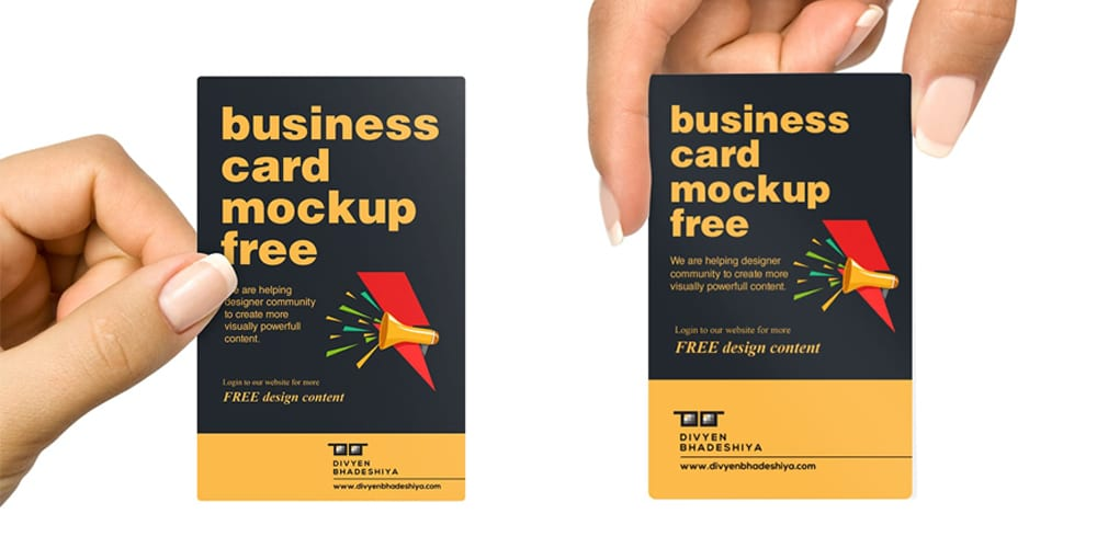 Vertical Business Card Mockup PSD