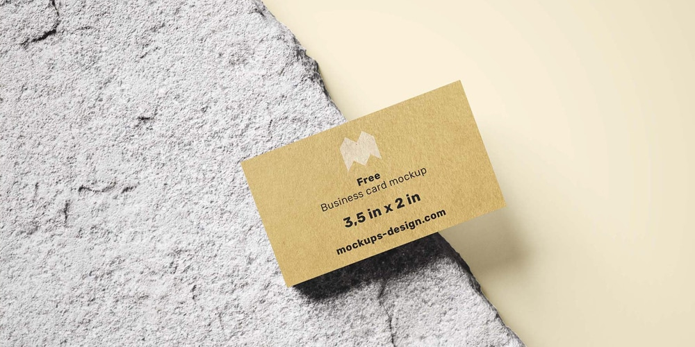 Business Card on the Rock Mockup
