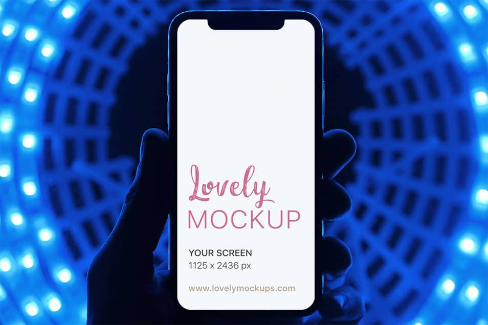 iPhone X Mockup With Radioactive Background