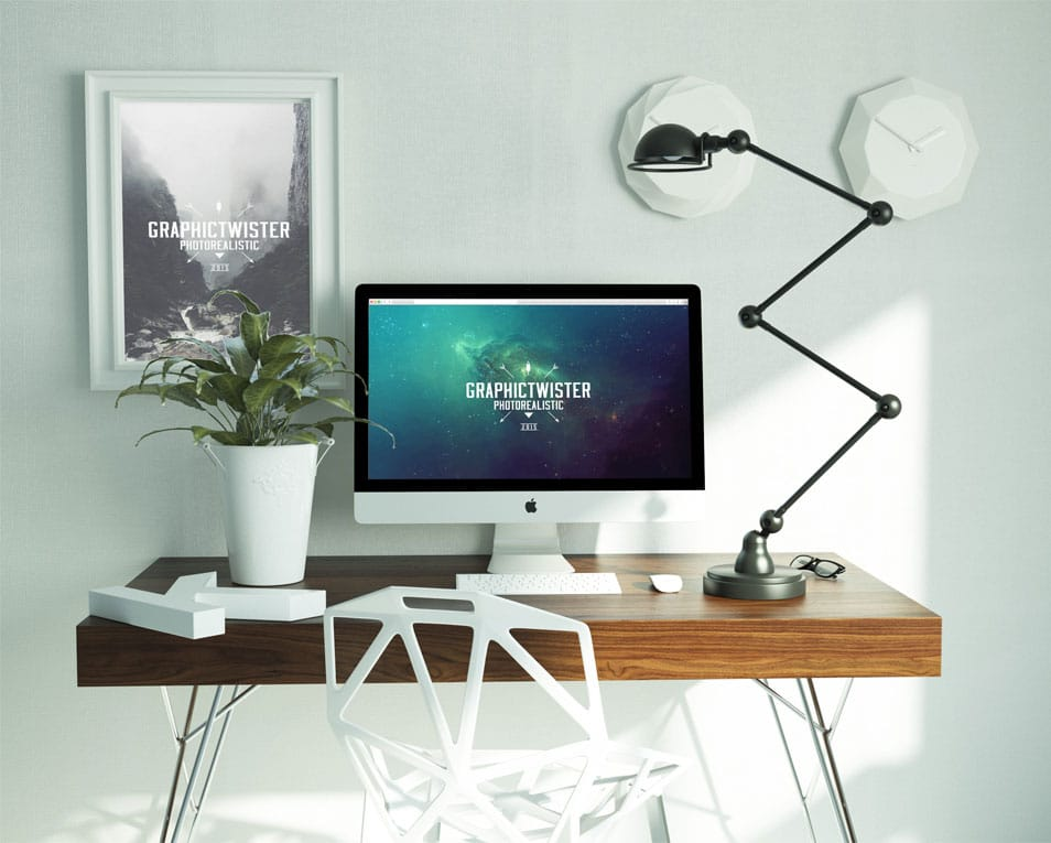 New Workspace Mockup with Editable iMac and Wall Frame Mockup