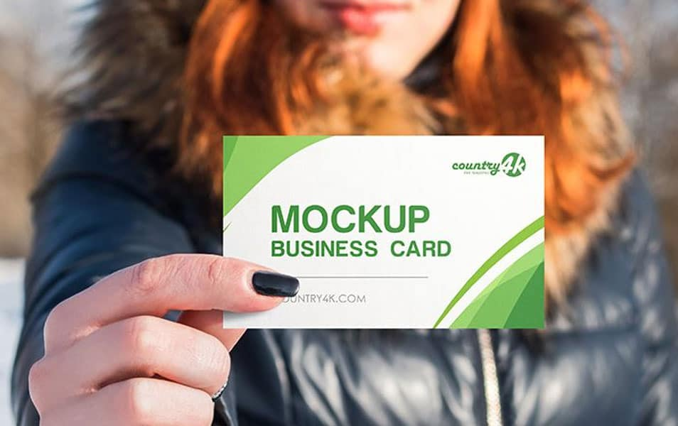 2 Free Business Card in Hand PSD MockUps in 4k