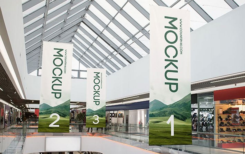 2 Free Shopping Center Banner PSD MockUps in 4k