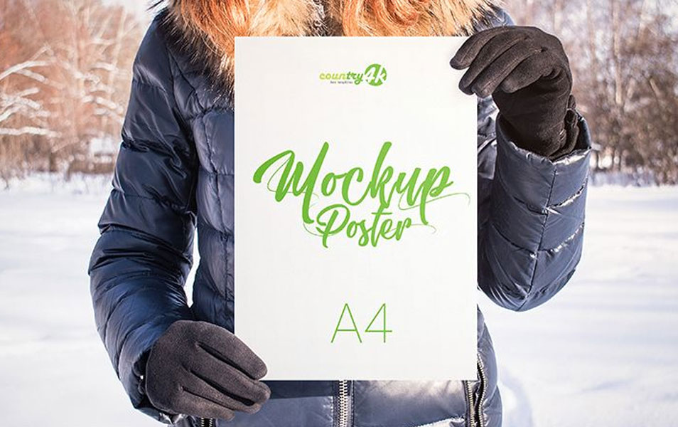 4 Free Poster Holding PSD MockUps in 4k