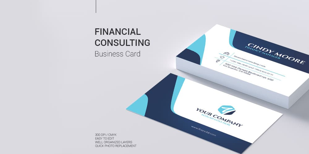 Financial Consulting Business Card in PSD