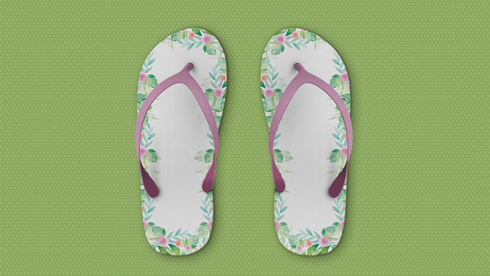 Free Beach Slippers Mockup PSD Template