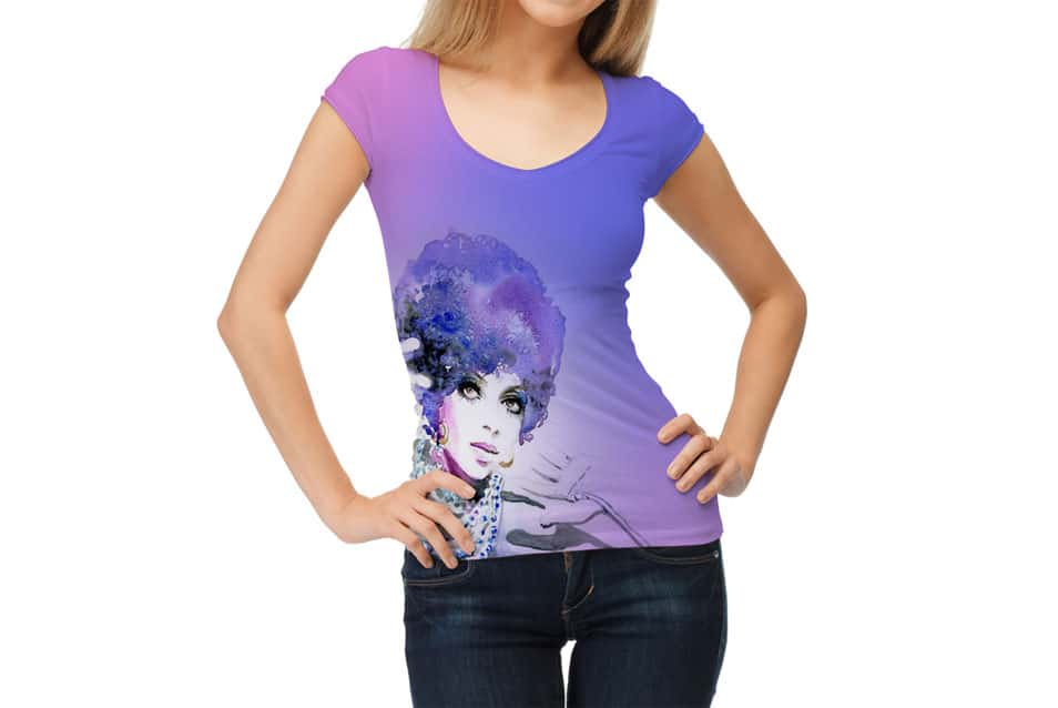 Free Beautiful Girl Wearing Round V-Neck TShirt Mockup