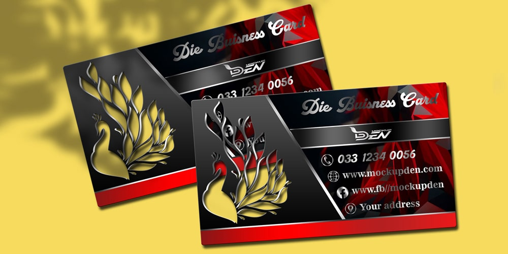 Free Black Die Business Card Mockup PSD