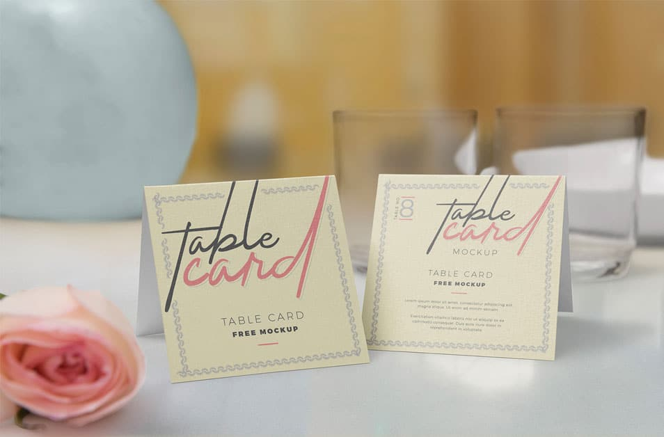 Free Customizable Table Card Mockup