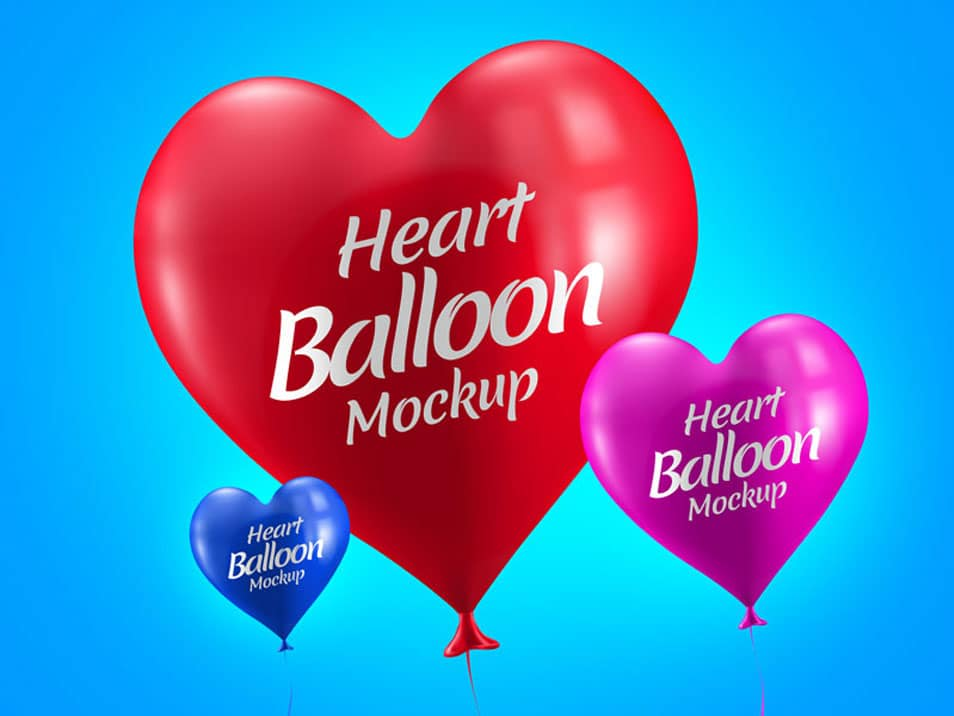 Free Heart Balloon Mockup PSD for Valentine's Day
