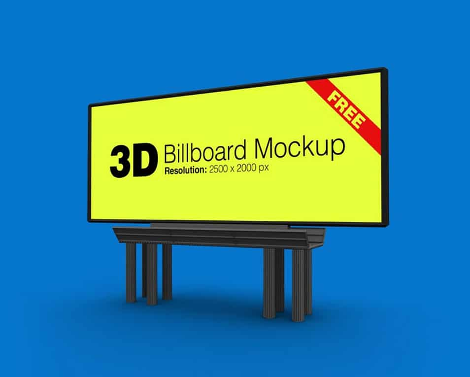 Free Outdoor Advertising 3D Billboard Mockup PSD