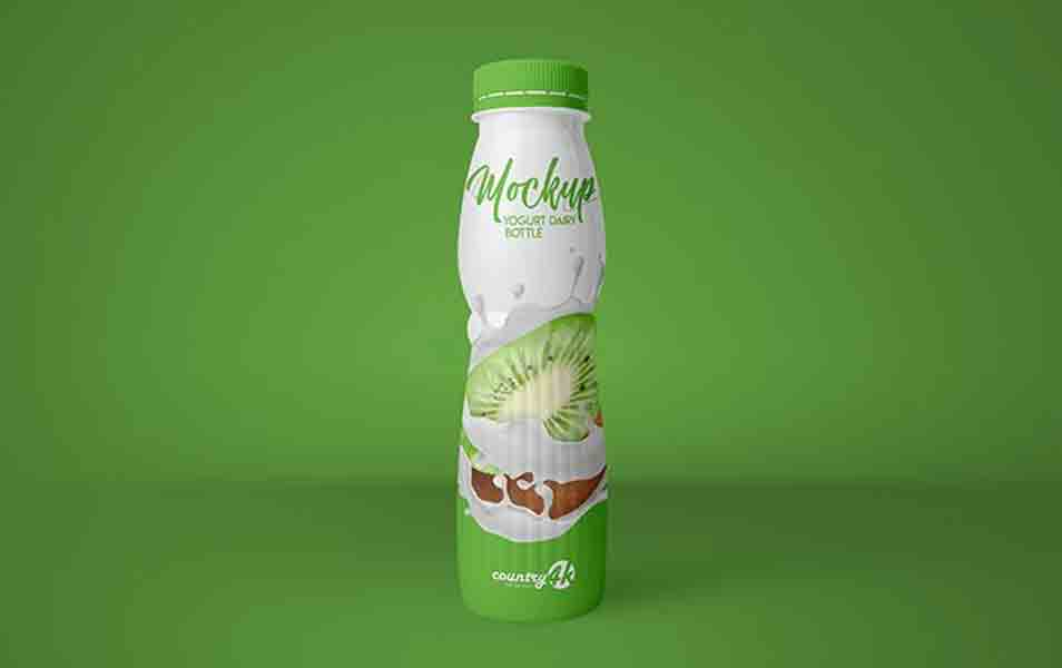 Free Yogurt Dairy Bottle PSD MockUp in 4k