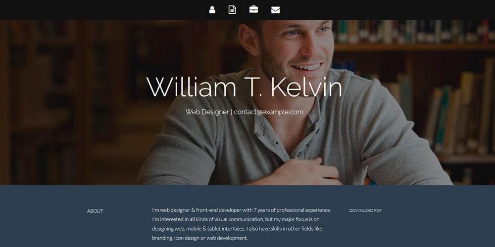 Plantilla de currículum de Kelvin Bootstrap