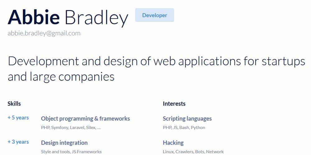 Plantilla de currículum HTML HTML mínimo