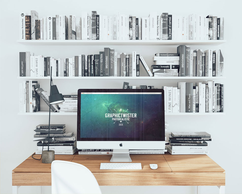 New Office Workspace Mockup PSD with Books