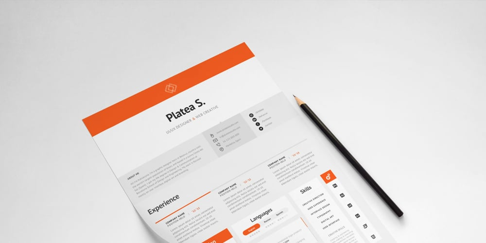 A4 US Letter Resume Template PSD