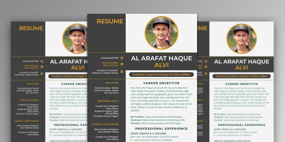 Clean Creative Resume Template PSD