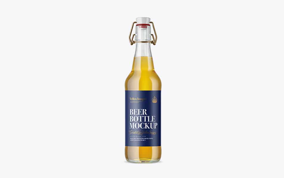Clear Glass Beugel Beer Bottle Mockup