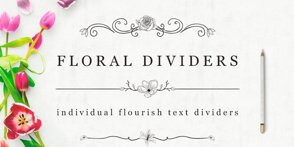 Flourish Text Dividers Florals