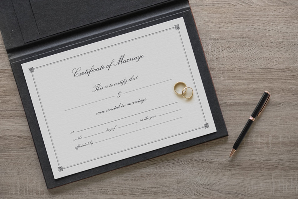 Free Marriage Certificate Template & Mockup PSD