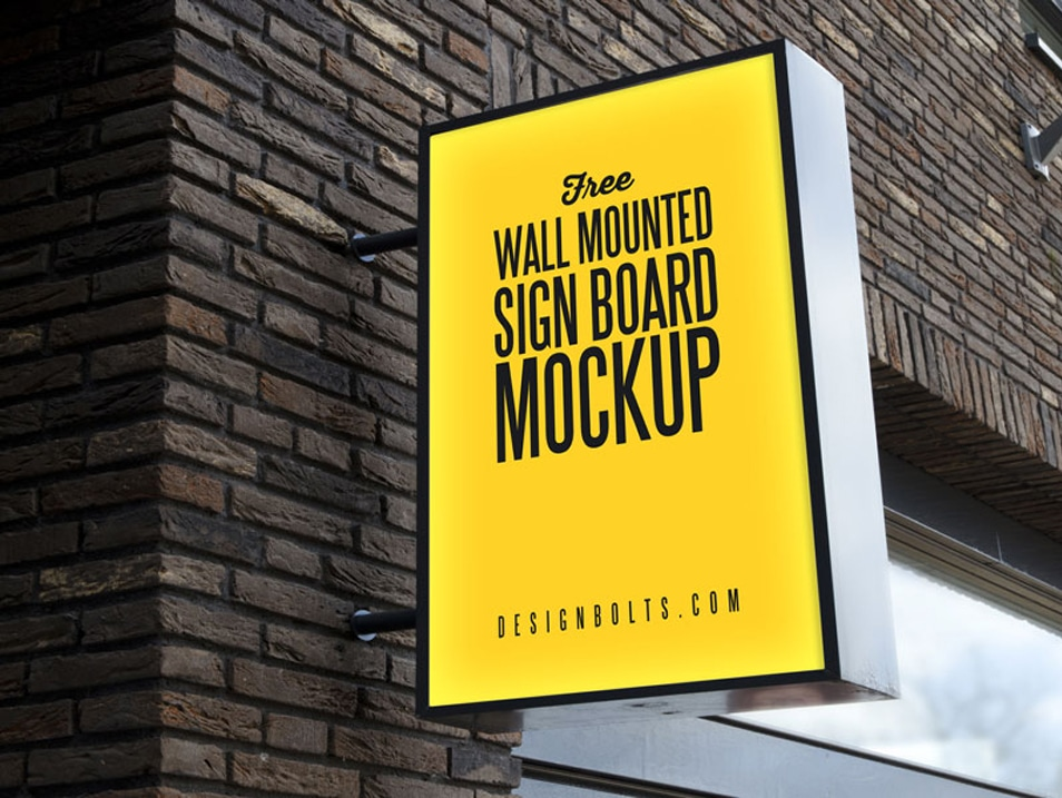 Free Outdoor Advertising Wall Mounted Sign Board Mockup PSD