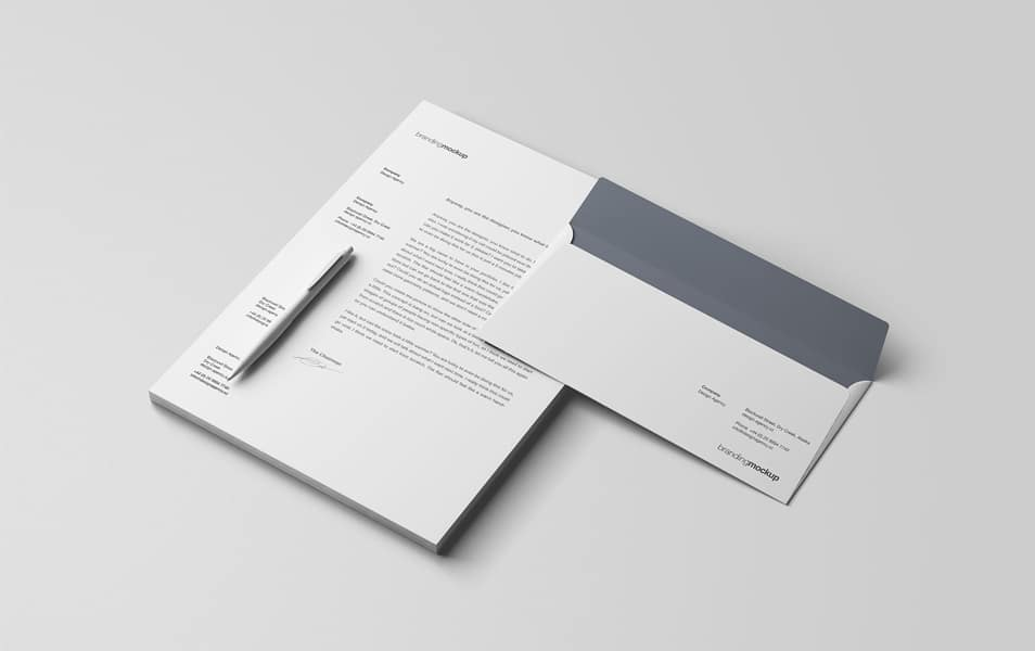 Letterhead and Envelope Branding Mockup PSD