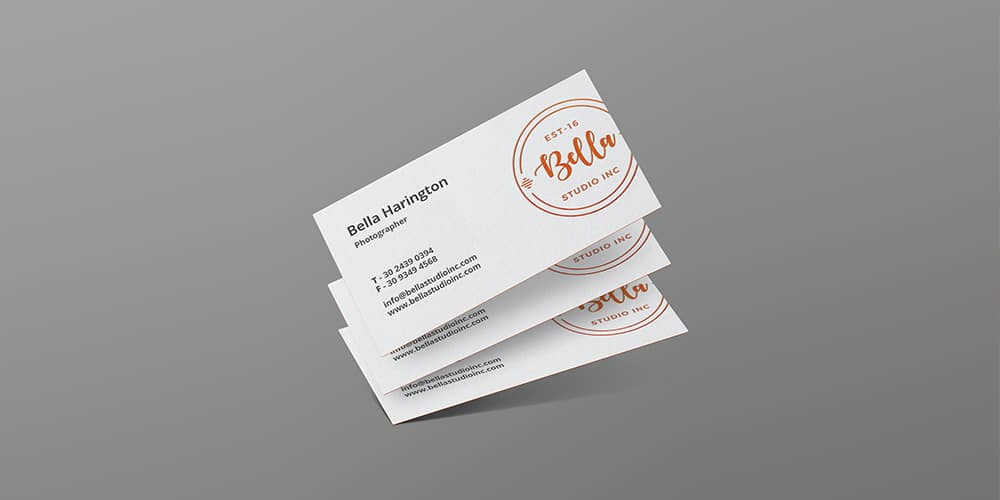 Letterpress Floating Business Card Mockup PSD