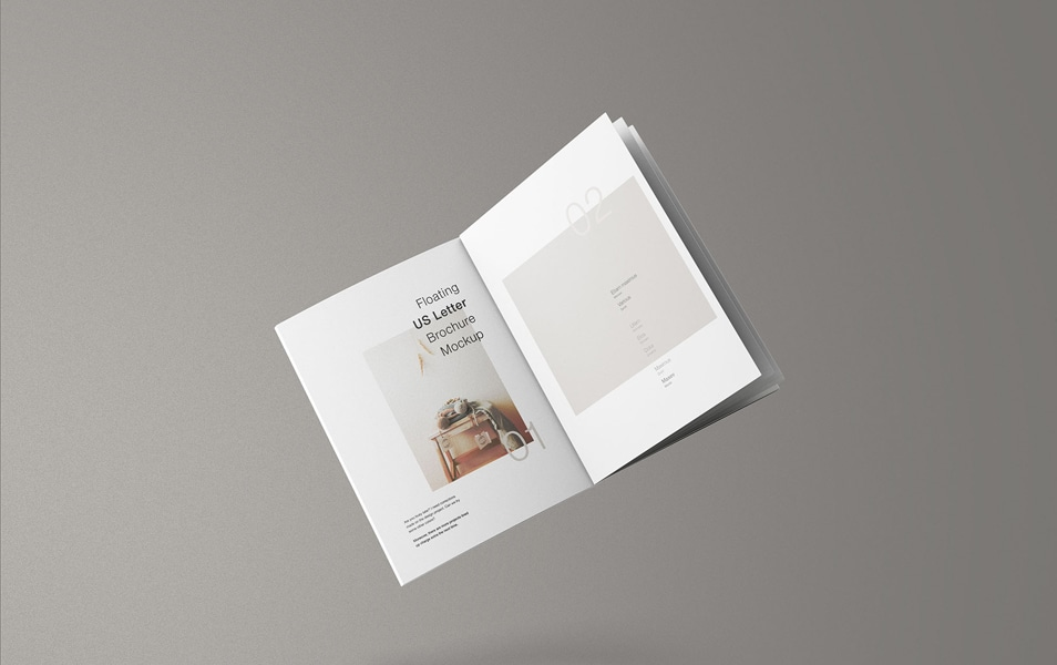 Minimal Floating US Letter Brochure Mockup