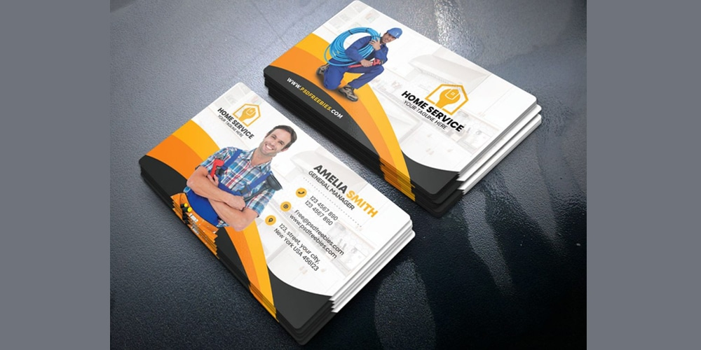 Plumber Business Card Template PSD