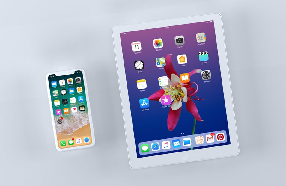 iPhone X and iPad Screen Mockups