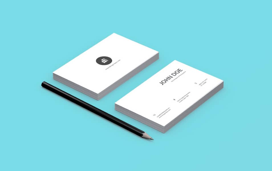 Business Card Mockup With Pencil
