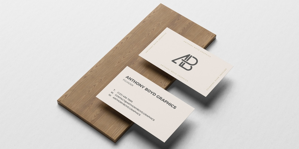 Business Card On Board Mockup