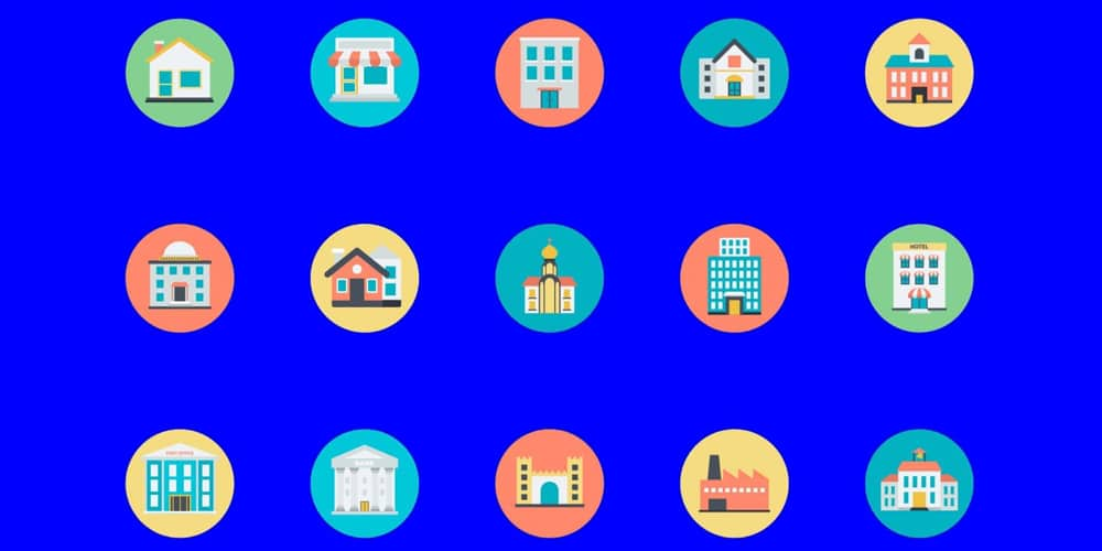 Colorfull Buildings Icon Set