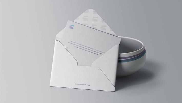 Envelope with Bowl Mockup