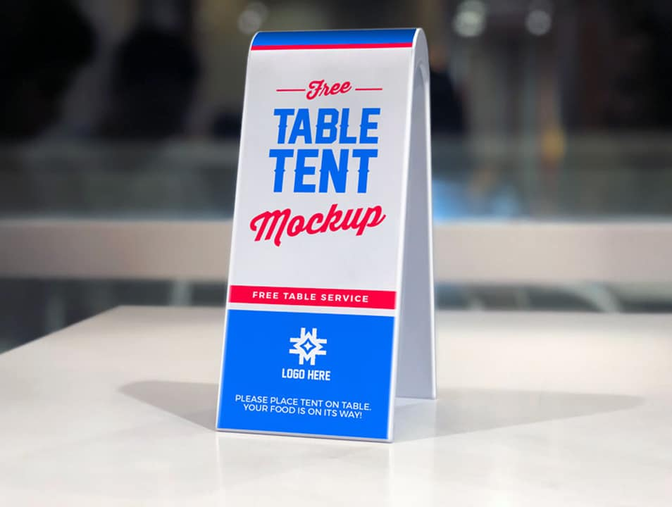 Free 2-Sided Plastic Table Tent Mockup PSD