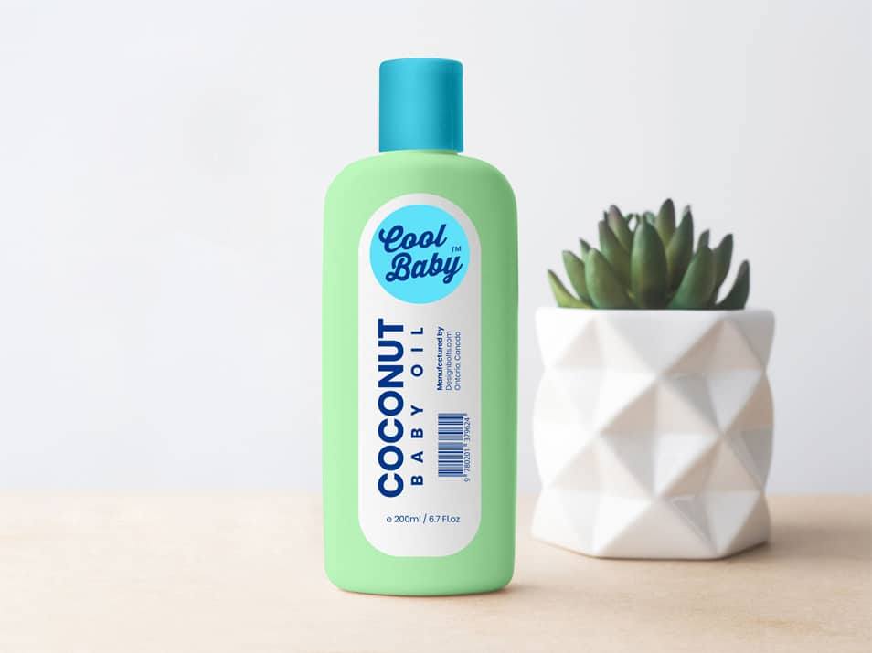 Free Baby Cream / Oil Plastic Bottle Mockup PSD