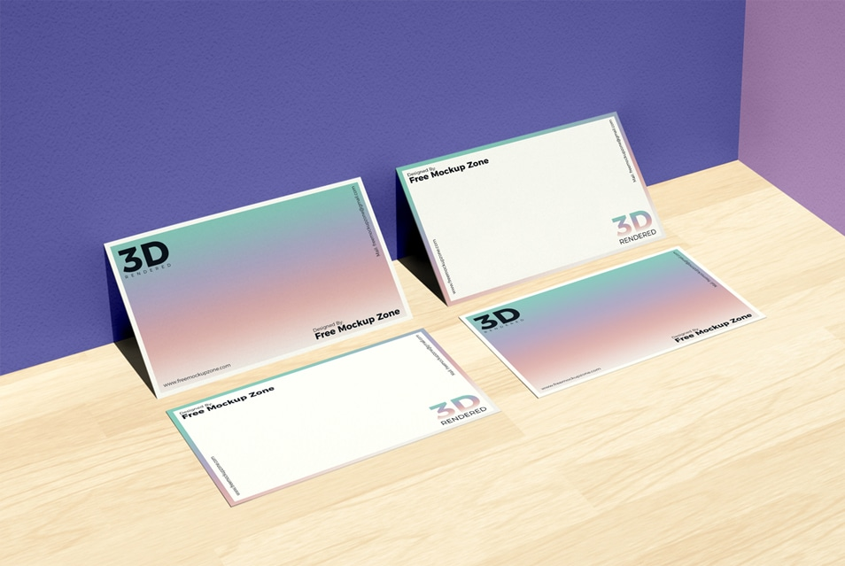 Free Business Card on Wooden Floor Mockup