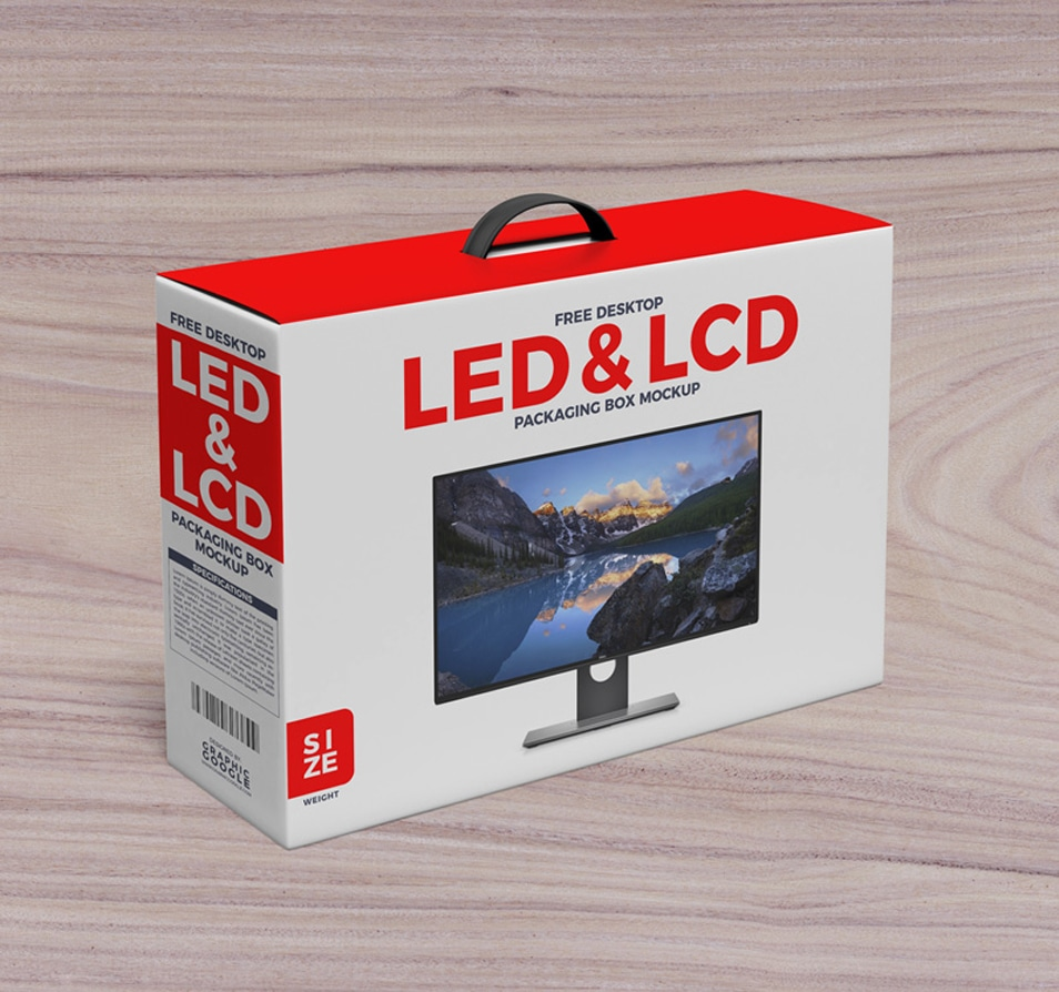 Free Desktop LCD & LED Packaging Box with Handle Mockup