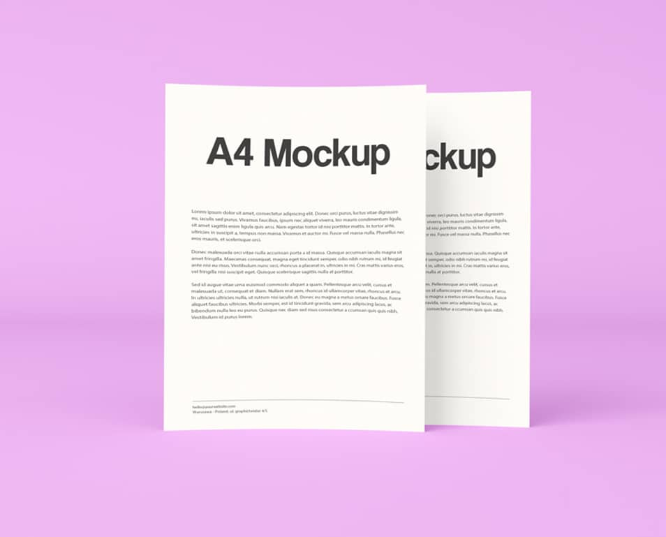Free Double A4 Paper PSD Mockup