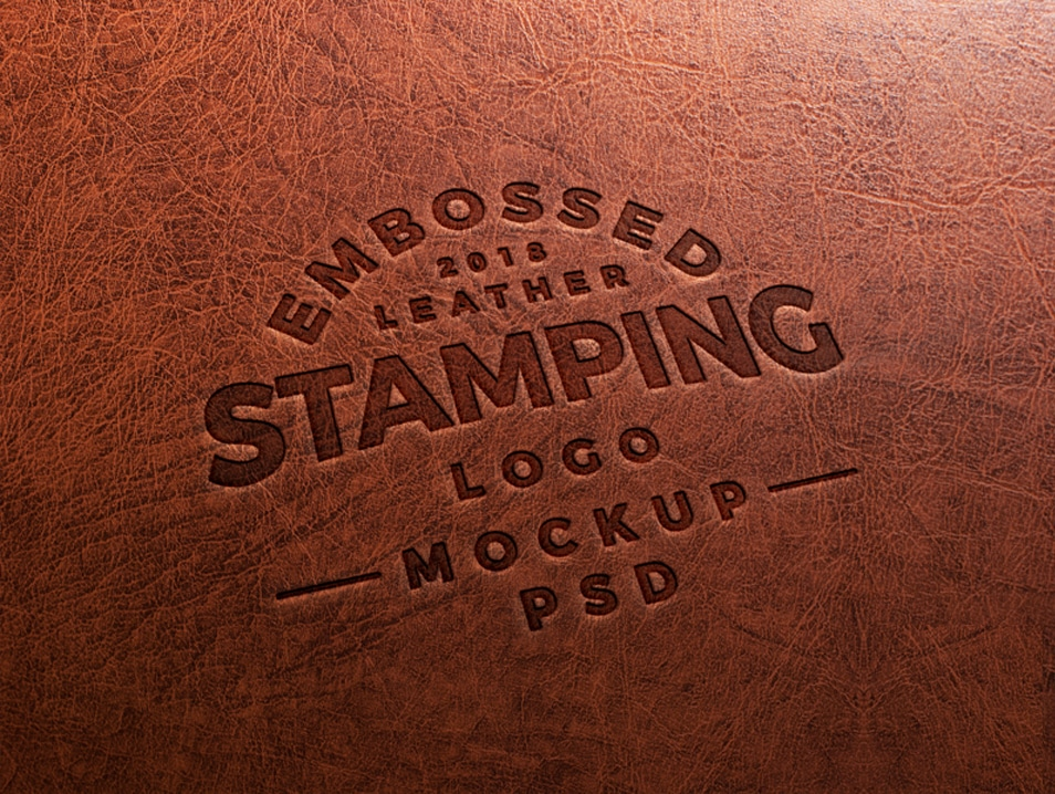 Free Embossed Leather Stamping Logo Mockup PSD