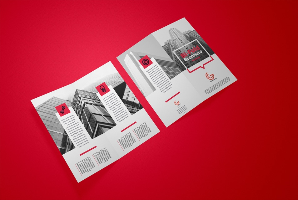 Free Executive Bi-Fold Brochure Mockup PSD