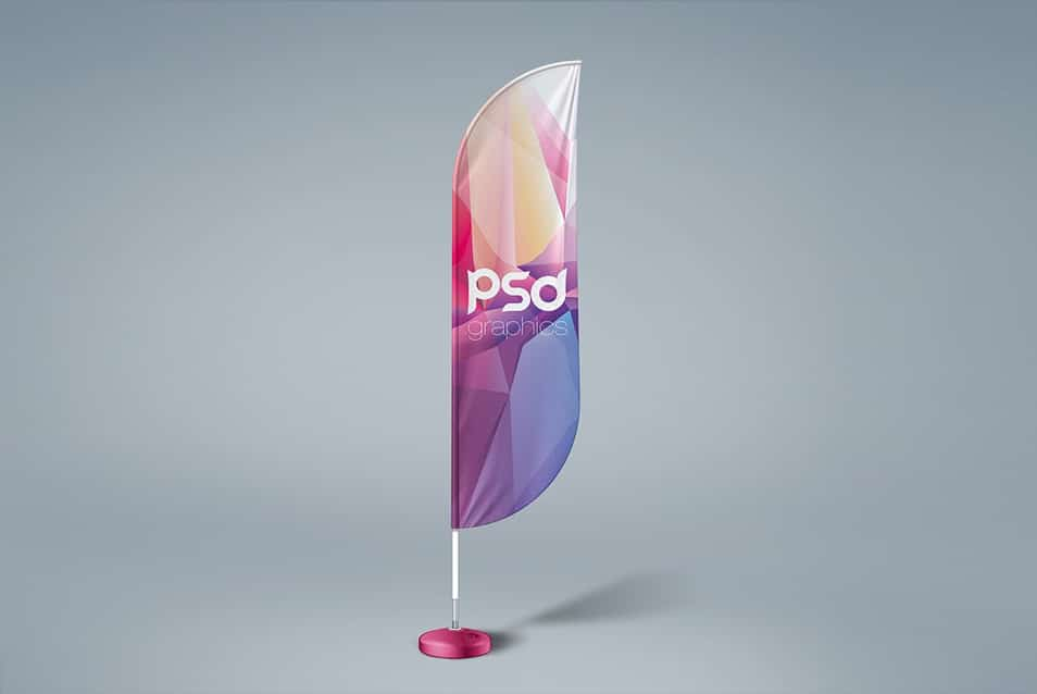 Free Feather Flag Mockup PSD