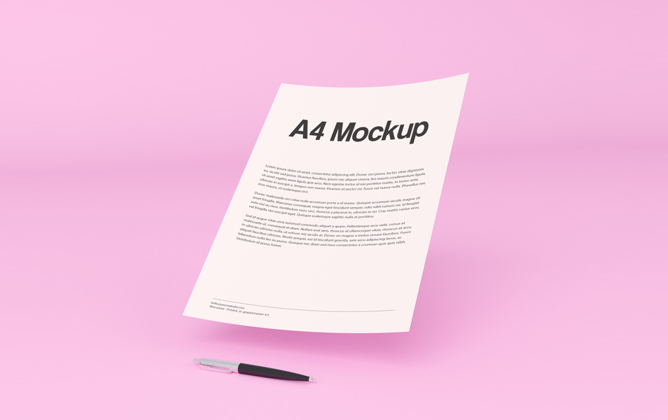 Free Floating A4 paper PSD Mockup
