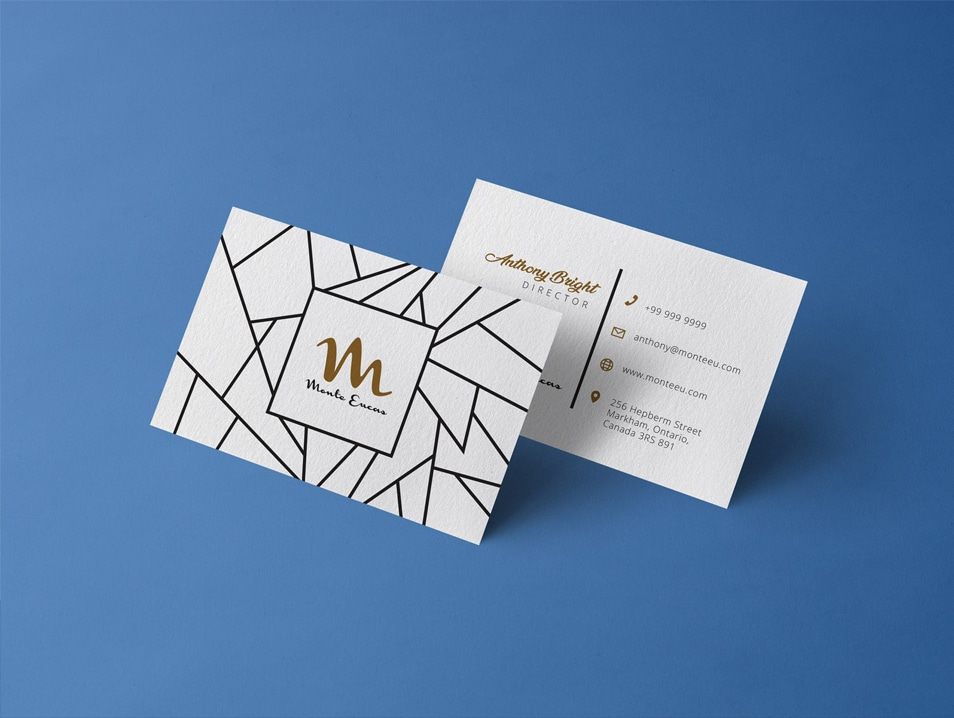 Free Front & Back Business Card Mockup PSD Template